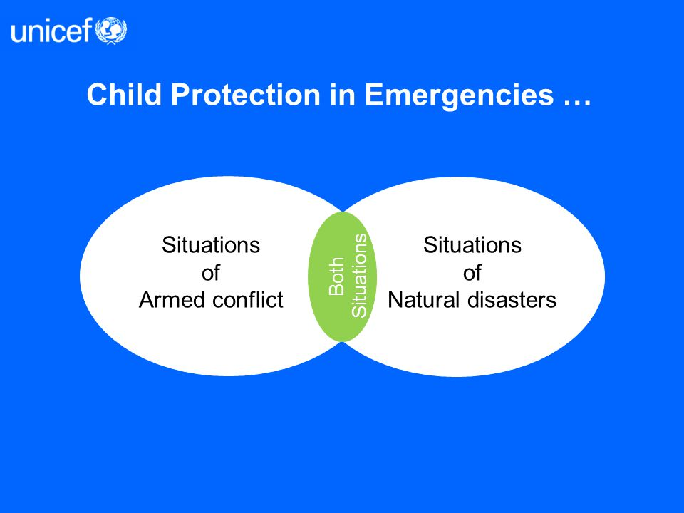 Child Protection in Emergencies … Situations of Armed conflict Situations of Natural disasters Both Situations