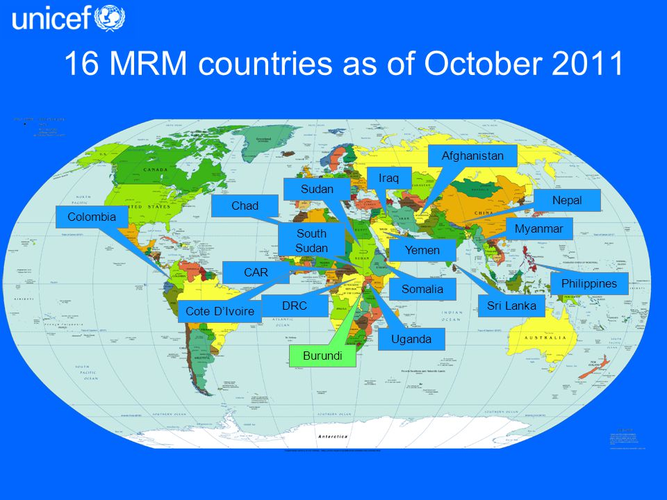 Burundi Chad DRC Myanmar Nepal Philippines Somalia Sri Lanka Sudan Uganda Colombia Afghanistan CAR Iraq 16 MRM countries as of October 2011 Cote DIvoi