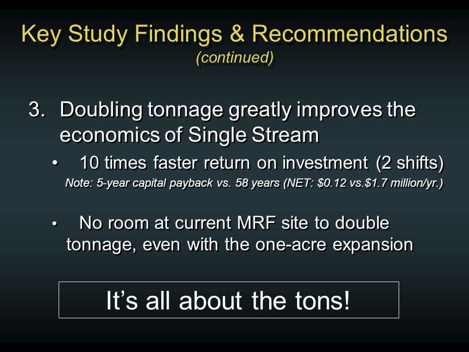 Key Study Findings & Recommendations (continued) 3.Doubling tonnage greatly improves the economics of Single Stream 10 times faster return on investment (2 shifts) Note: 5-year capital payback vs.