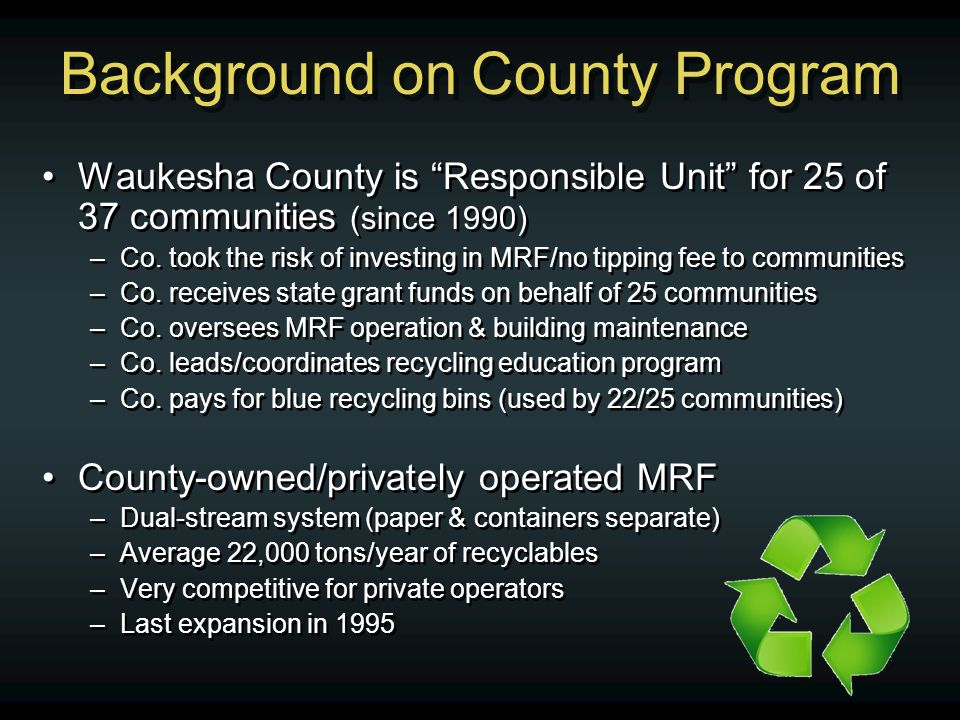 Background on County Program Waukesha County is Responsible Unit for 25 of 37 communities (since 1990) –Co.