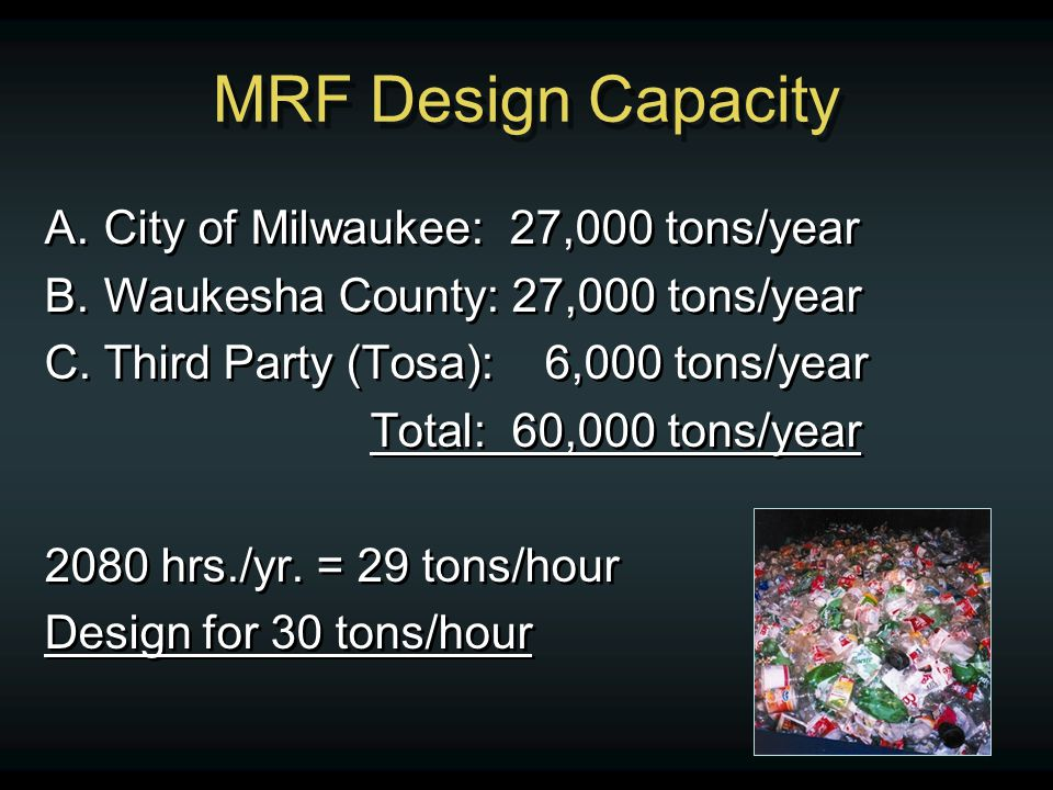 MRF Design Capacity A.City of Milwaukee: 27,000 tons/year B.Waukesha County: 27,000 tons/year C.Third Party (Tosa): 6,000 tons/year Total: 60,000 tons