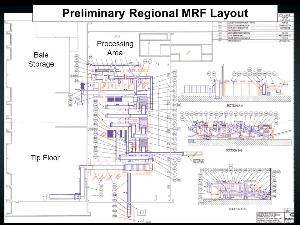Preliminary Regional MRF Layout Tip Floor Processing Area Bale Storage