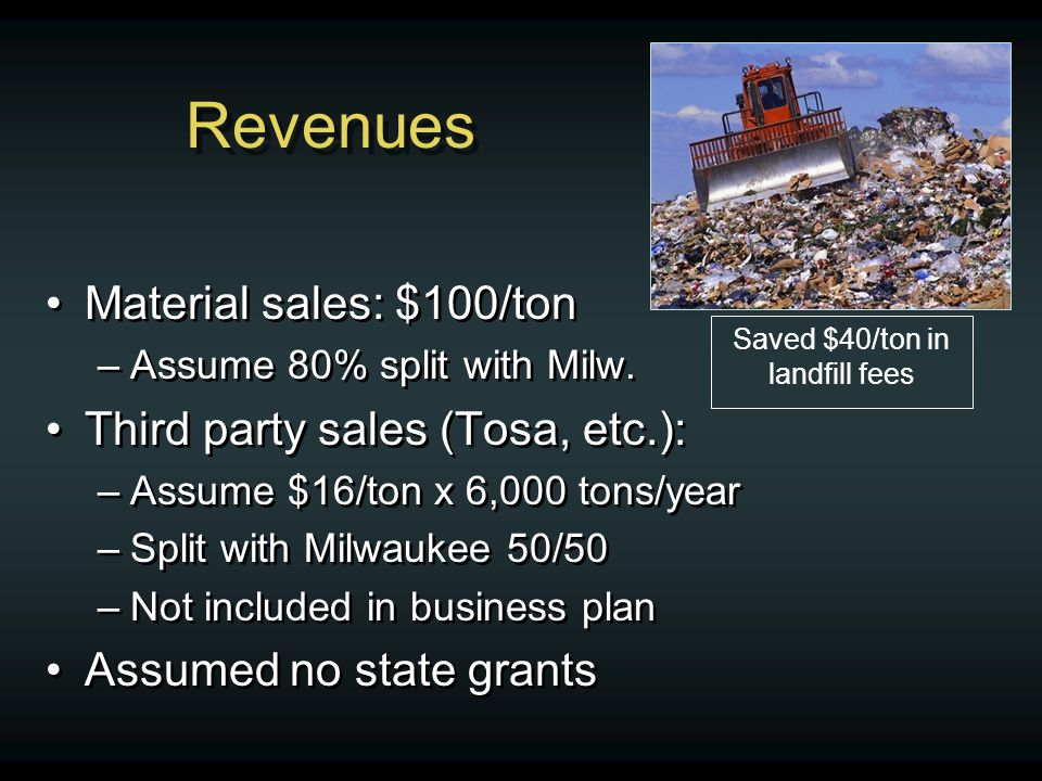 Revenues Material sales: $100/ton –Assume 80% split with Milw. Third party sales (Tosa, etc.): –Assume $16/ton x 6,000 tons/year –Split with Milwaukee