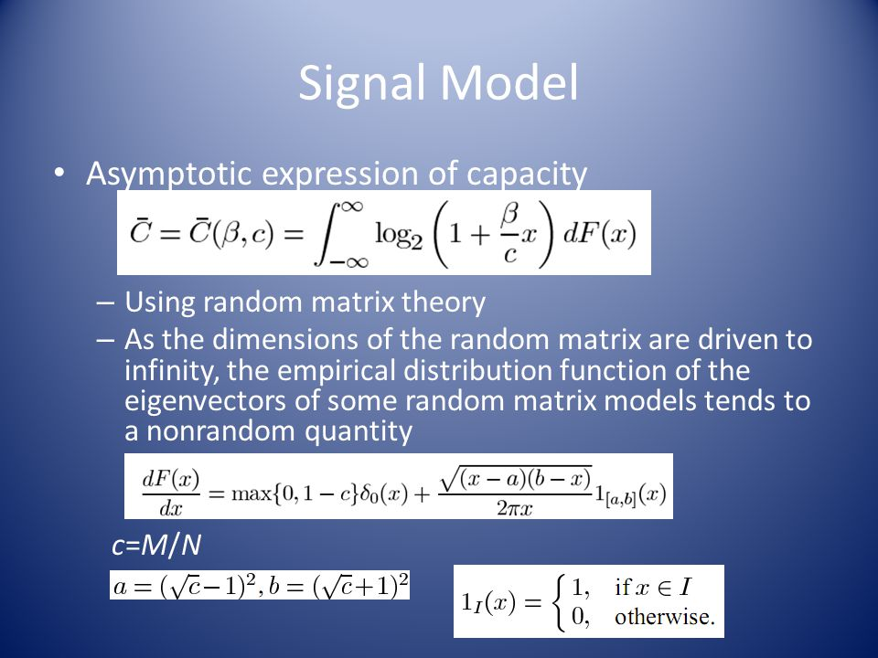 Simulation Results Fig 6: Convergence of the mean value of the capacity per antenna toward its asymptotic value for c=0.5.
