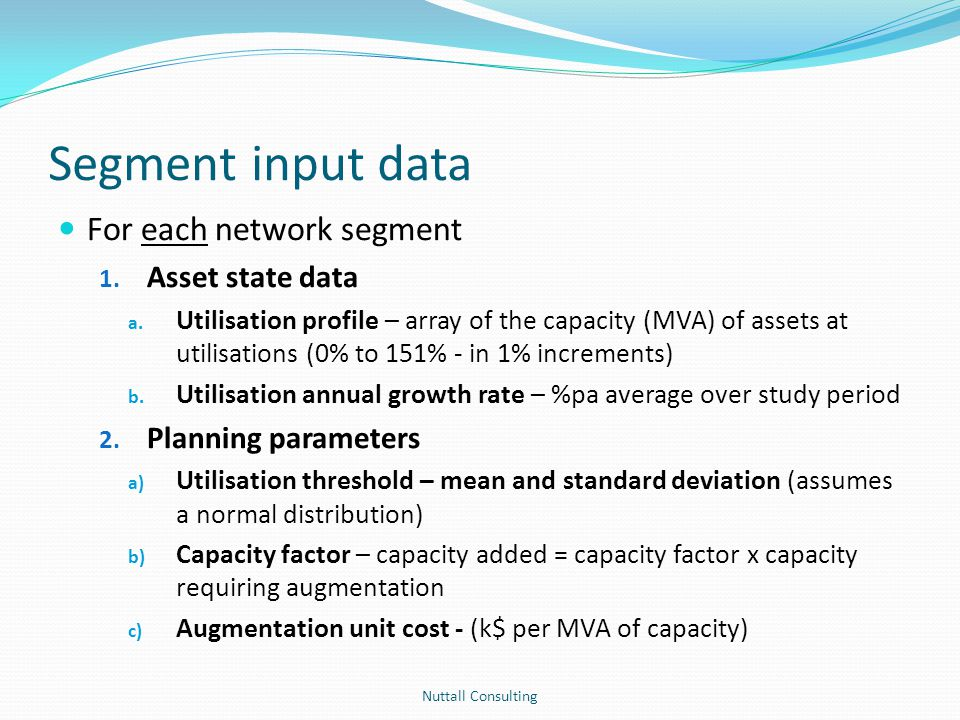 Segment input data For each network segment 1. Asset state data a. Utilisation profile – array of the capacity (MVA) of assets at utilisations (0% to
