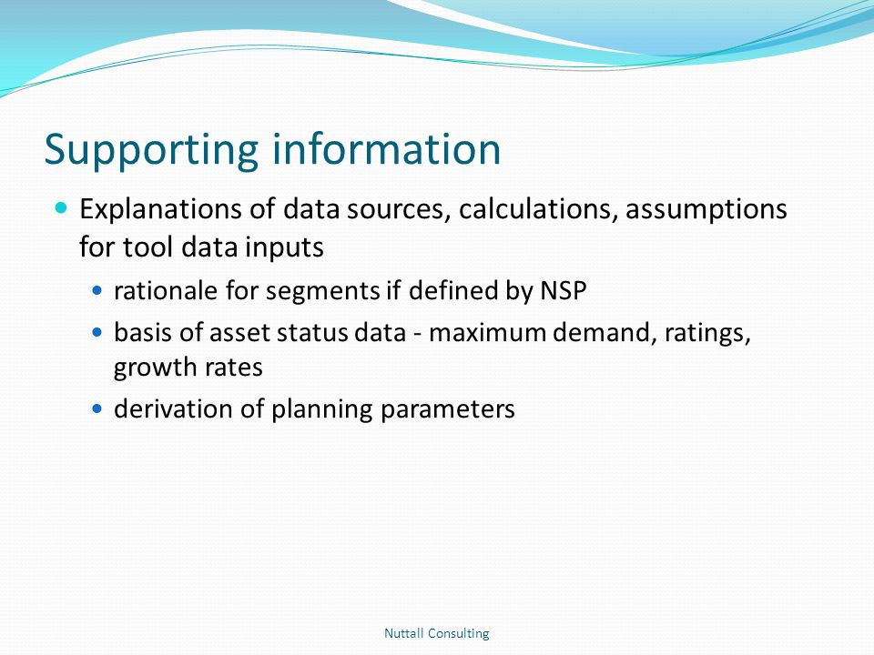 Supporting information Explanations of data sources, calculations, assumptions for tool data inputs rationale for segments if defined by NSP basis of
