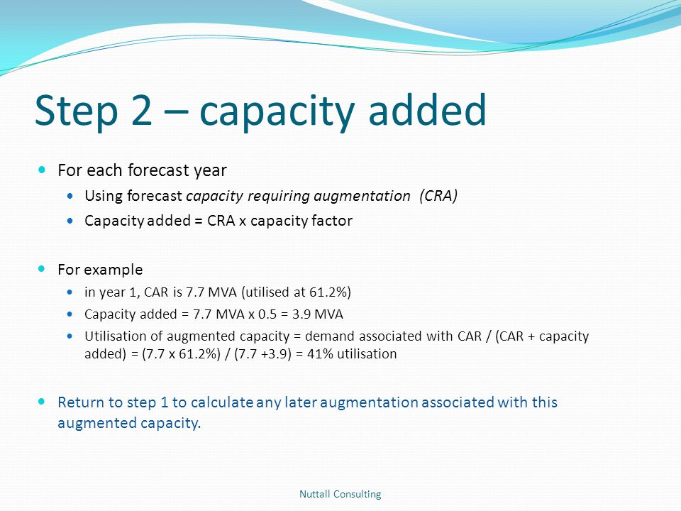 Step 2 – capacity added Nuttall Consulting For each forecast year Using forecast capacity requiring augmentation (CRA) Capacity added = CRA x capacity