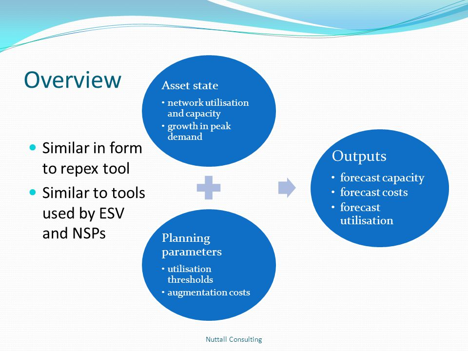 Overview Similar in form to repex tool Similar to tools used by ESV and NSPs Nuttall Consulting Asset state network utilisation and capacity growth in