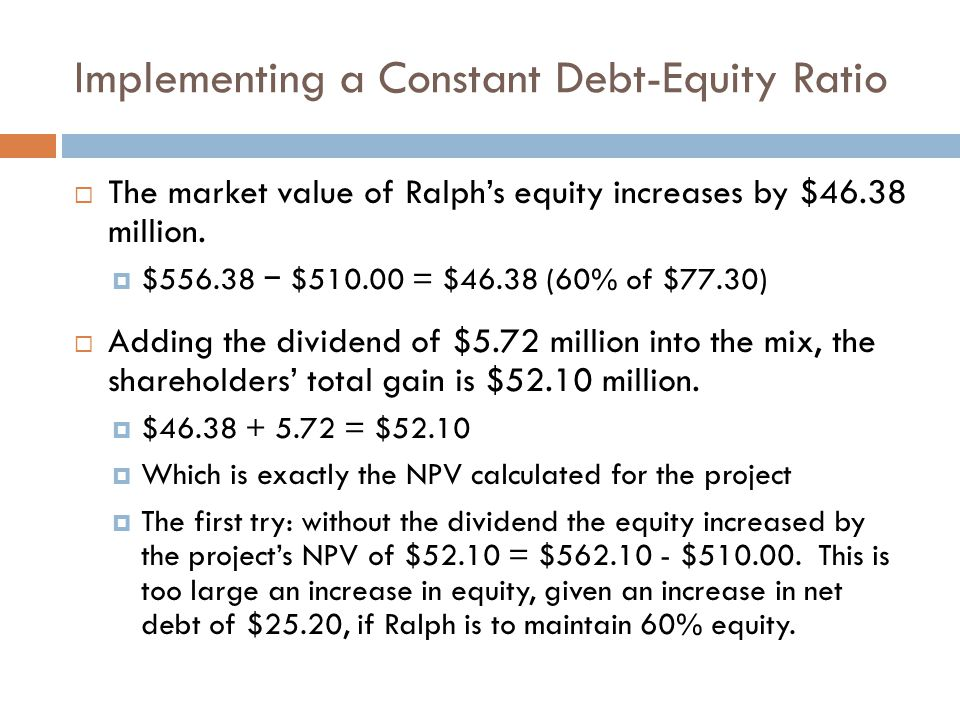 Implementing a Constant Debt-Equity Ratio The market value of Ralphs equity increases by $46.38 million. $556.38 $510.00 = $46.38 (60% of $77.30) Addi