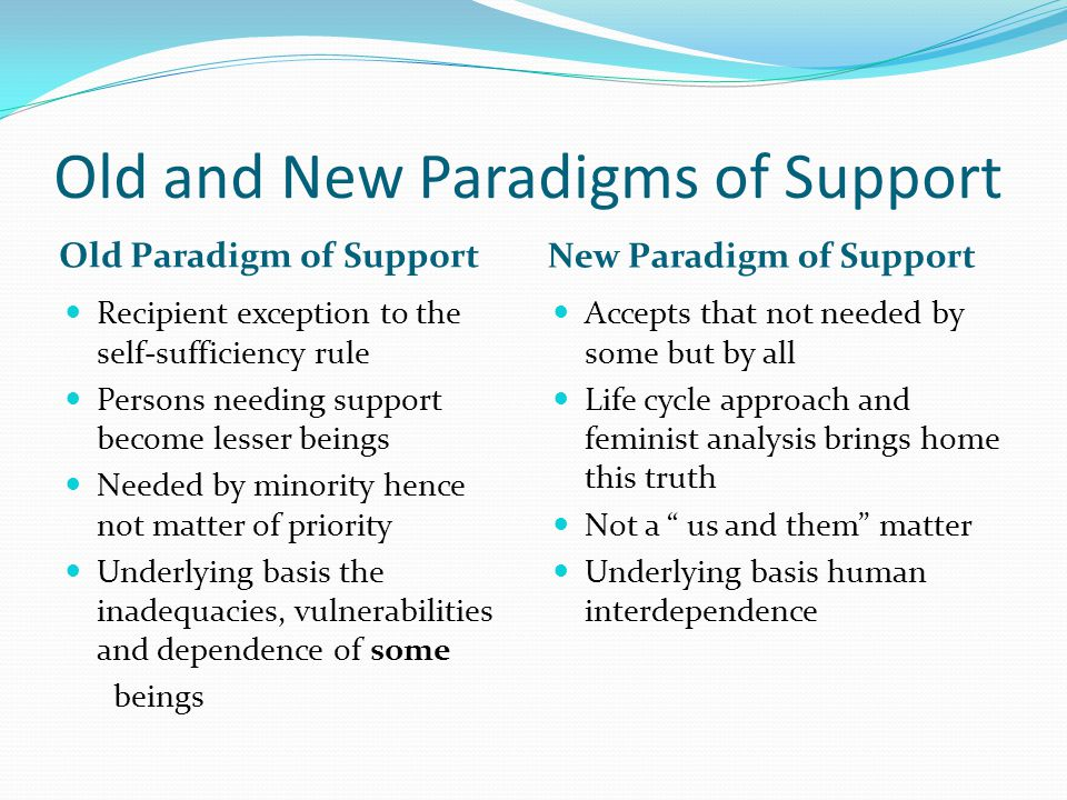 Old and New Paradigms of Support Old Paradigm of Support New Paradigm of Support Recipient exception to the self-sufficiency rule Persons needing support become lesser beings Needed by minority hence not matter of priority Underlying basis the inadequacies, vulnerabilities and dependence of some beings Accepts that not needed by some but by all Life cycle approach and feminist analysis brings home this truth Not a us and them matter Underlying basis human interdependence