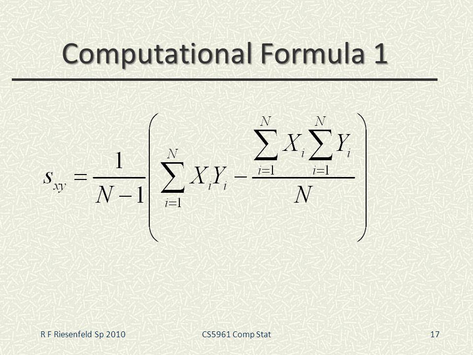 Computational Formula 1 17R F Riesenfeld Sp 2010CS5961 Comp Stat