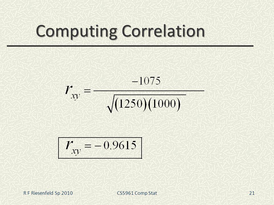 Computing Correlation 21R F Riesenfeld Sp 2010CS5961 Comp Stat