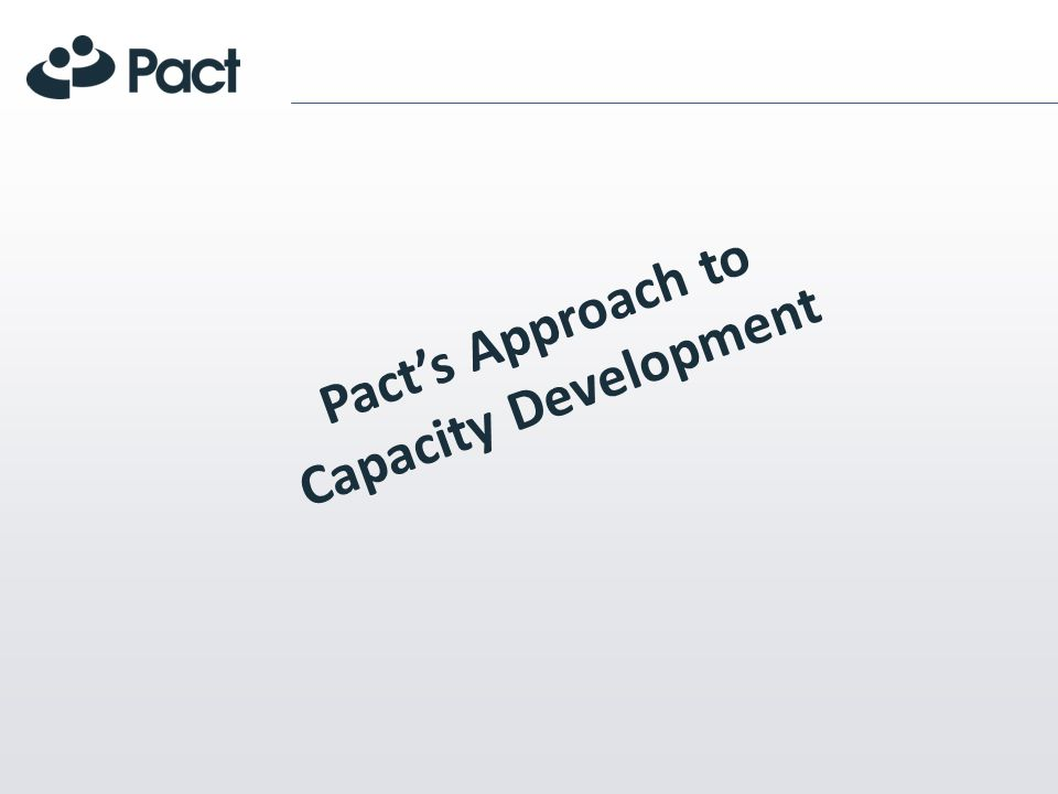 Pacts Approach to Capacity Development