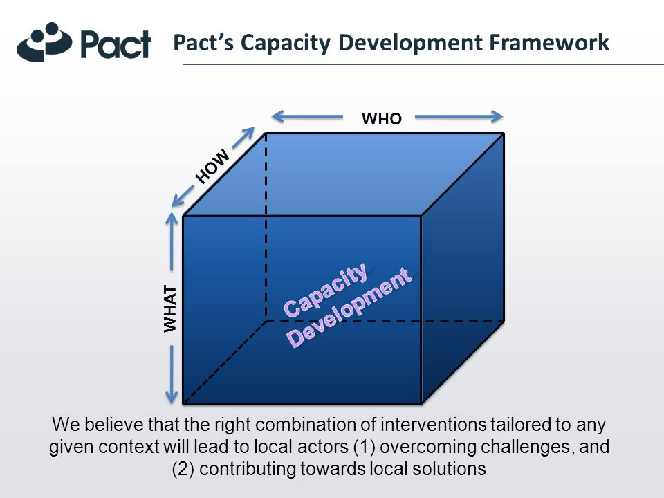 WHO WHAT HOW Pacts Capacity Development Framework We believe that the right combination of interventions tailored to any given context will lead to local actors (1) overcoming challenges, and (2) contributing towards local solutions