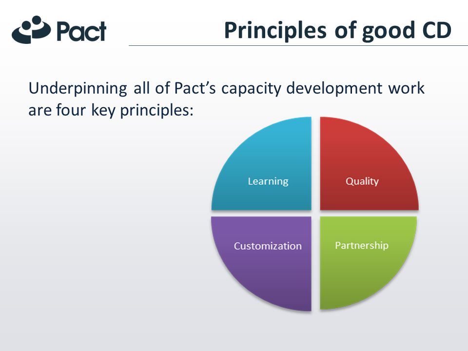Principles of good CD Underpinning all of Pacts capacity development work are four key principles: