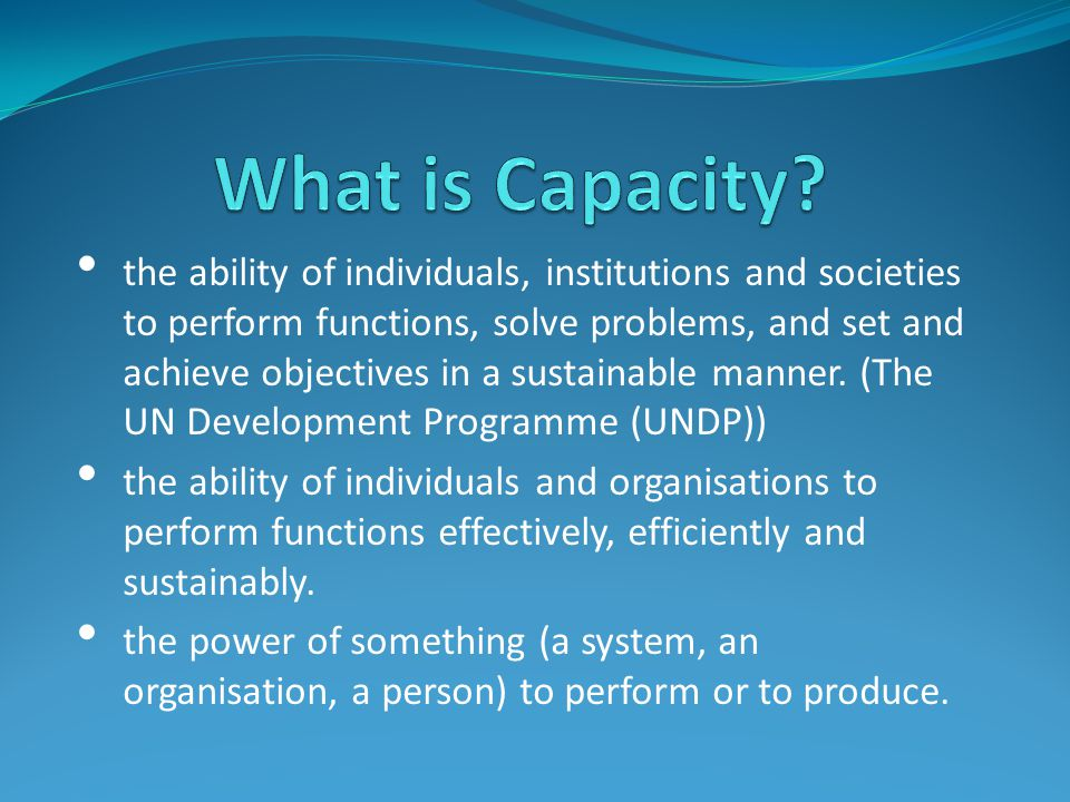 the ability of individuals, institutions and societies to perform functions, solve problems, and set and achieve objectives in a sustainable manner.