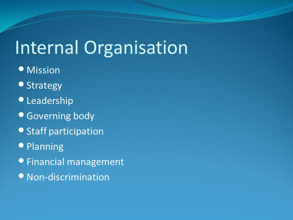 Internal Organisation Mission Strategy Leadership Governing body Staff participation Planning Financial management Non-discrimination