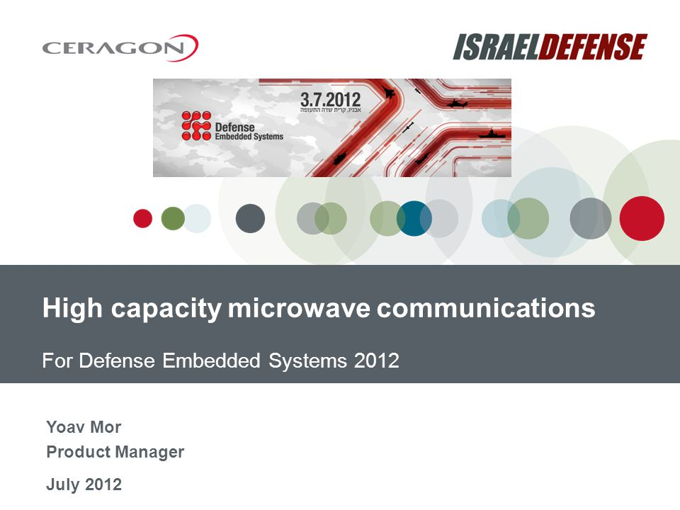 For Defense Embedded Systems 2012 July 2012 High capacity microwave communications Yoav Mor Product Manager