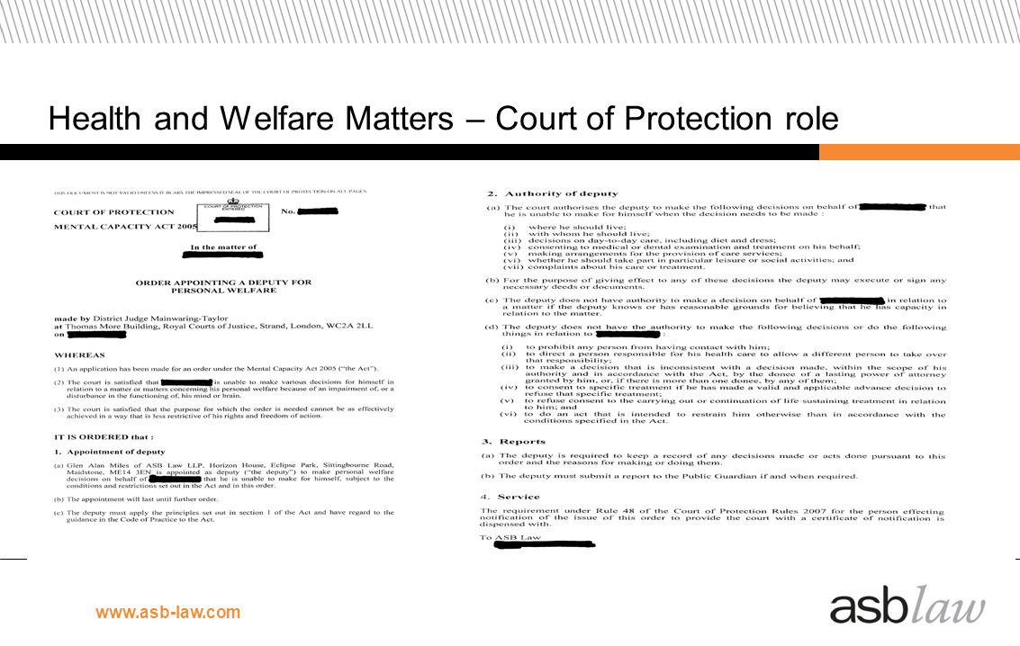 www.asb-law.com Health and Welfare Matters – Court of Protection role