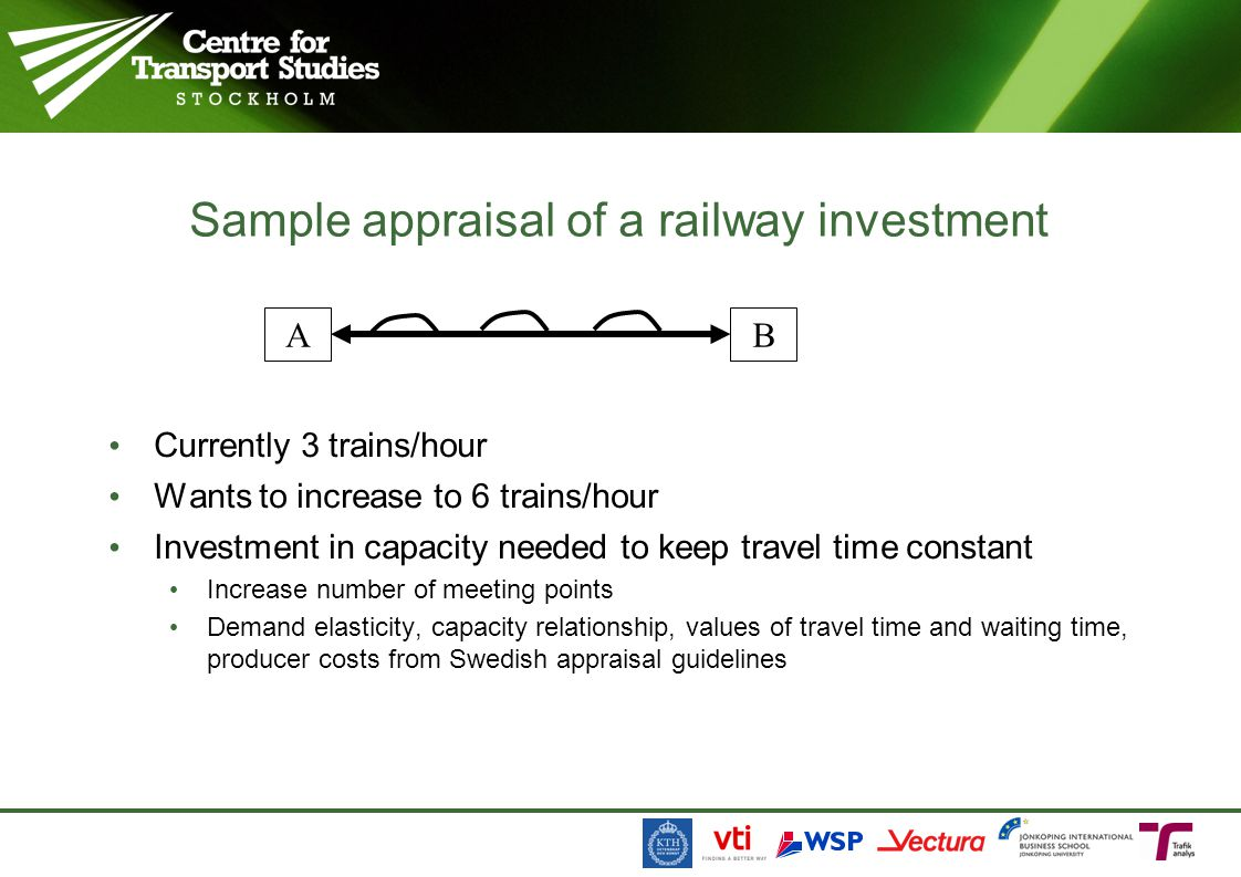 Currently 3 trains/hour Wants to increase to 6 trains/hour Investment in capacity needed to keep travel time constant Increase number of meeting points Demand elasticity, capacity relationship, values of travel time and waiting time, producer costs from Swedish appraisal guidelines Sample appraisal of a railway investment AB