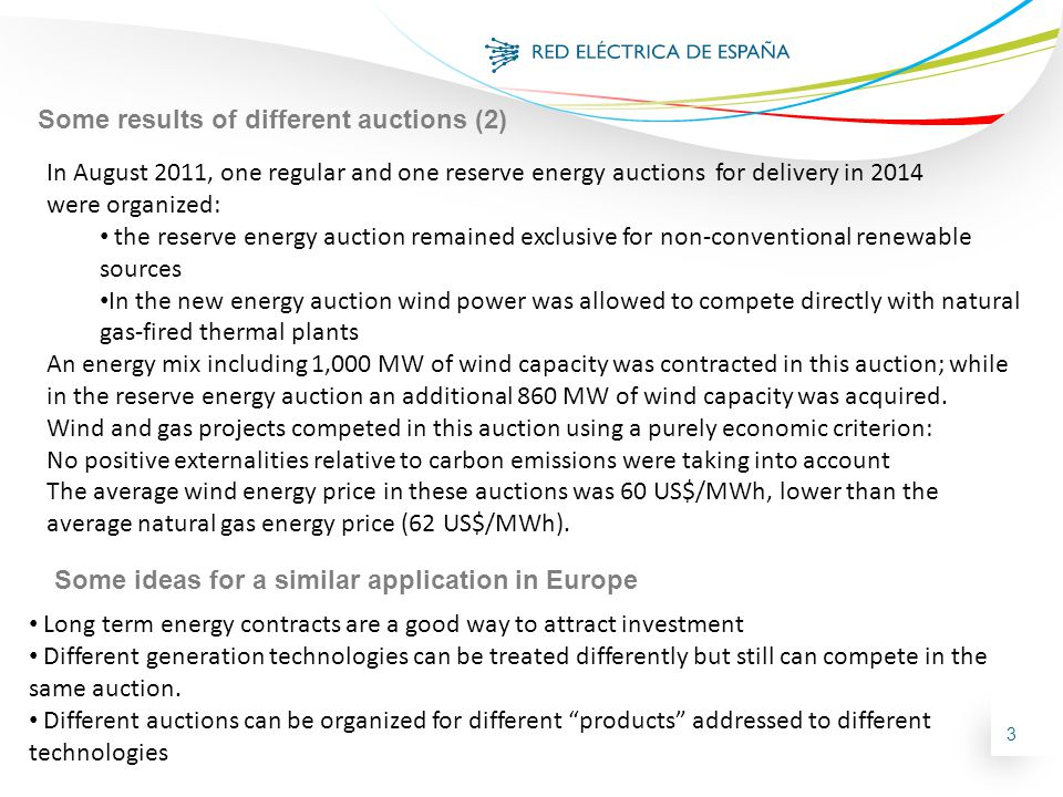 3 In August 2011, one regular and one reserve energy auctions for delivery in 2014 were organized: the reserve energy auction remained exclusive for non-conventional renewable sources In the new energy auction wind power was allowed to compete directly with natural gas-fired thermal plants An energy mix including 1,000 MW of wind capacity was contracted in this auction; while in the reserve energy auction an additional 860 MW of wind capacity was acquired.