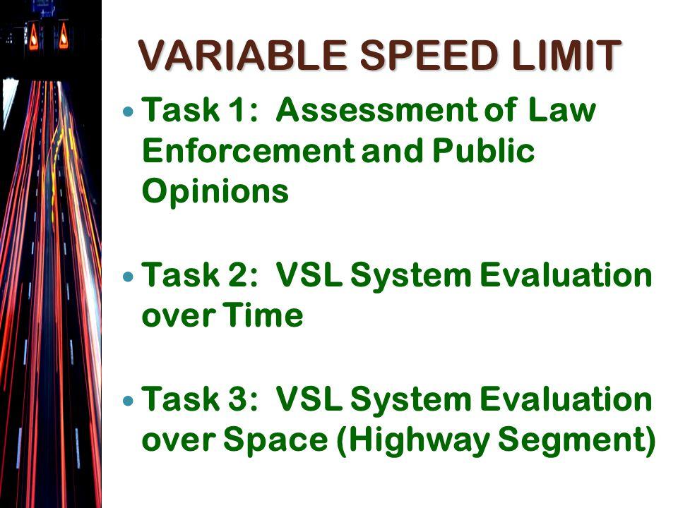 VARIABLE SPEED LIMIT Task 1a Continuous On-line Public Survey Task 1b Law Enforcement Paper Survey (2 times)