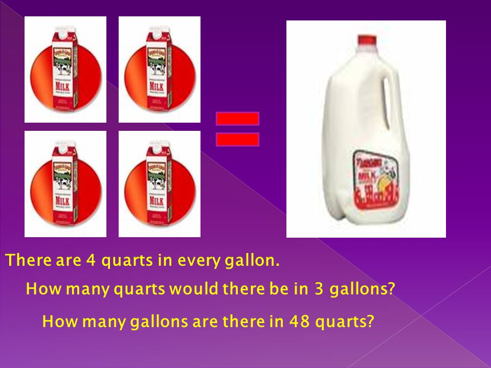 There are 4 quarts in every gallon. How many quarts would there be in 3 gallons? How many gallons are there in 48 quarts?