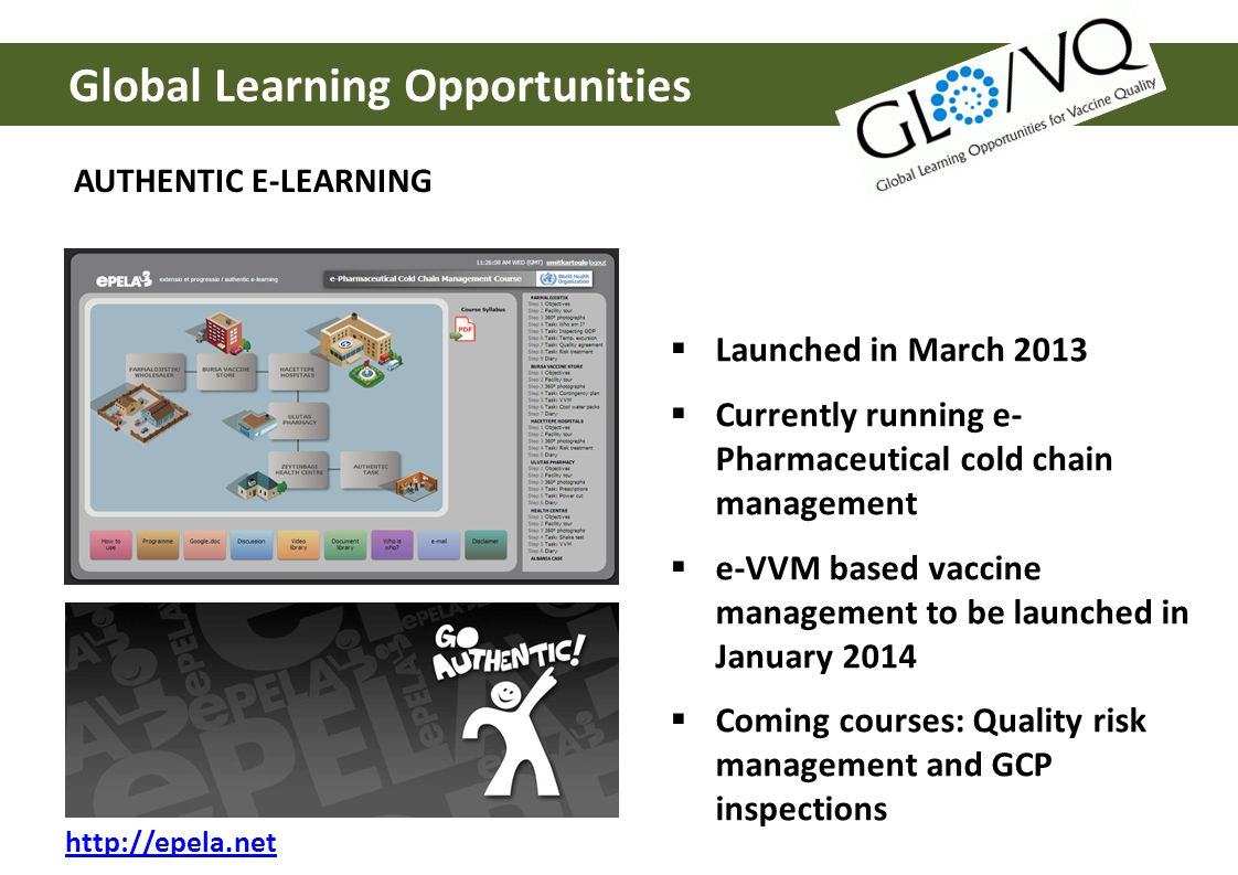 Global Learning Opportunities AUTHENTIC E-LEARNING http://epela.net Launched in March 2013 Currently running e- Pharmaceutical cold chain management e