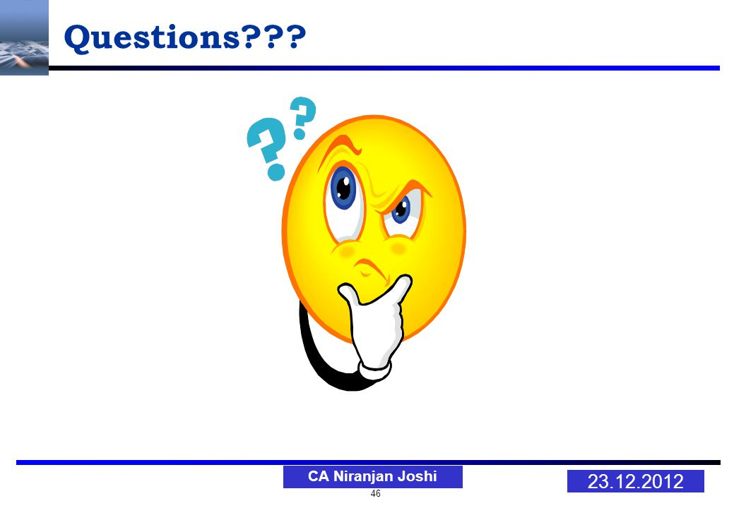 46 23.12.2012 CA Niranjan Joshi Questions