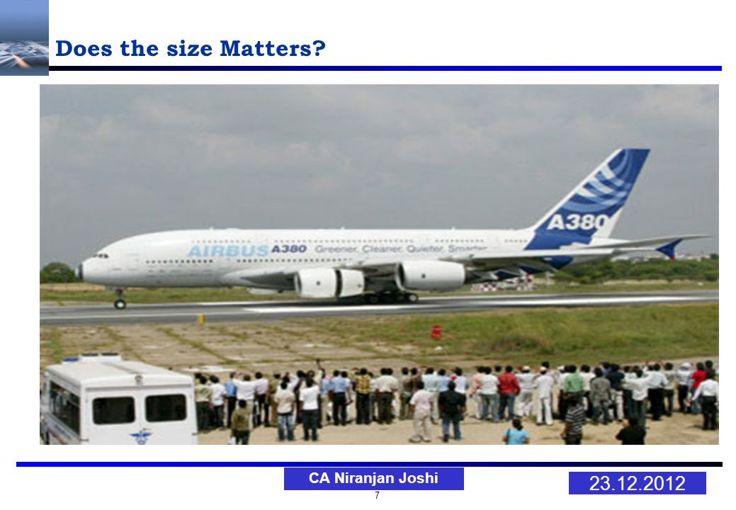 7 23.12.2012 CA Niranjan Joshi Does the size Matters