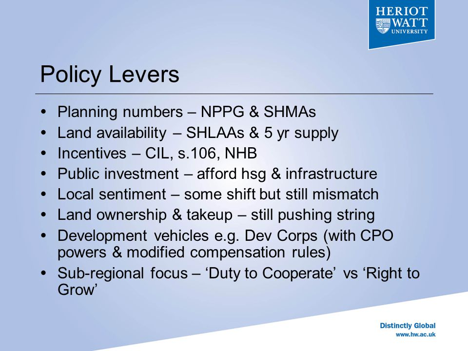 Key Dimensions of Potential Capacity – land (bf & gf), constraints (BUA, GB, AONB, NP), density, location/access, [topography, flood risk, etc] Demand – demographics, prices/rents, affordy, employment Planning Stance – land avail & other proxies Current Performance – consents, completions, NHB Local Sentiment – BSAS surveys & predictions Measured initially by index of simple sum of z-scores
