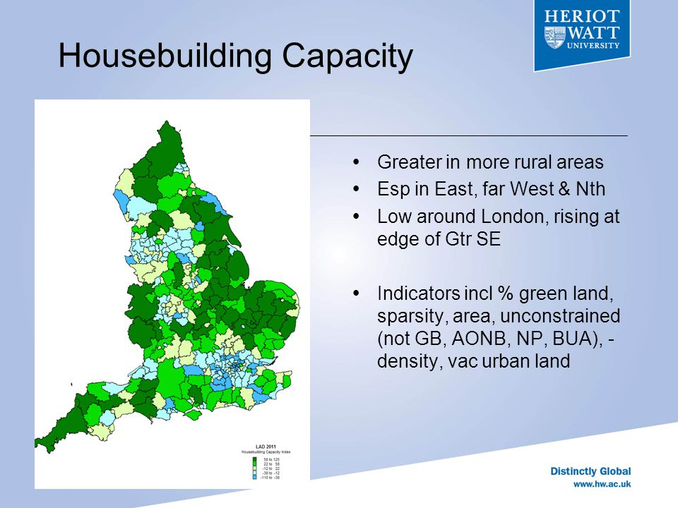 Housebuilding Demand Greatest in London, & adjacent areas esp to West High thru most of south Low in W Mids, N Mids, & most of North Indicators incl act & projected hshld growth, house prices, affordy (HPIR) earnings, income, concealed hshlds, job growth, employ rate, -unemp, -IMD, - Vacs - dist from London