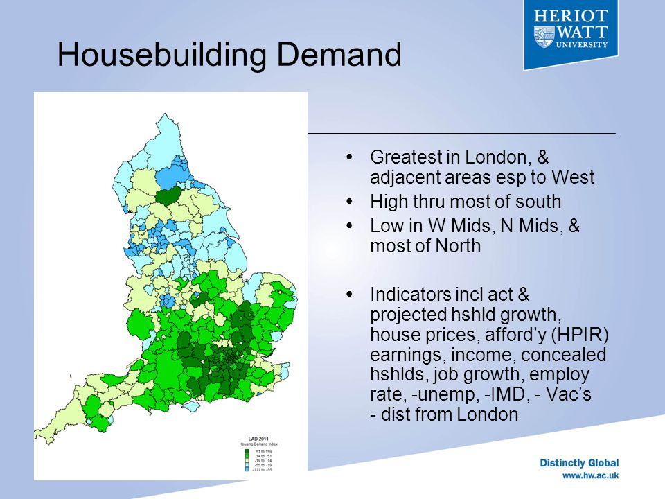 Previous Planning Stance Scatter of areas A few in London Low around London More in East, rural West South Midlands Rural North Established growth areas Indicators incl stock p ps, soc comps, land avail, 5 yr supply, % approval rate, -small sites, change in target 2010-12