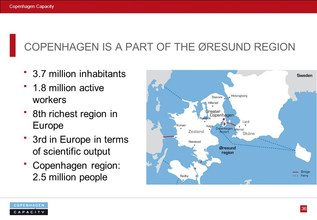 Copenhagen Capacity 36 COPENHAGEN IS A PART OF THE ØRESUND REGION 3.7 million inhabitants 1.8 million active workers 8th richest region in Europe 3rd in Europe in terms of scientific output Copenhagen region: 2.5 million people