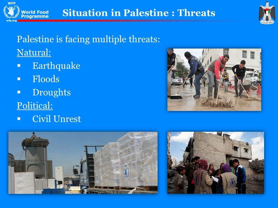 Situation in Palestine : Threats Palestine is facing multiple threats: Natural: Earthquake Floods Droughts Political: Civil Unrest
