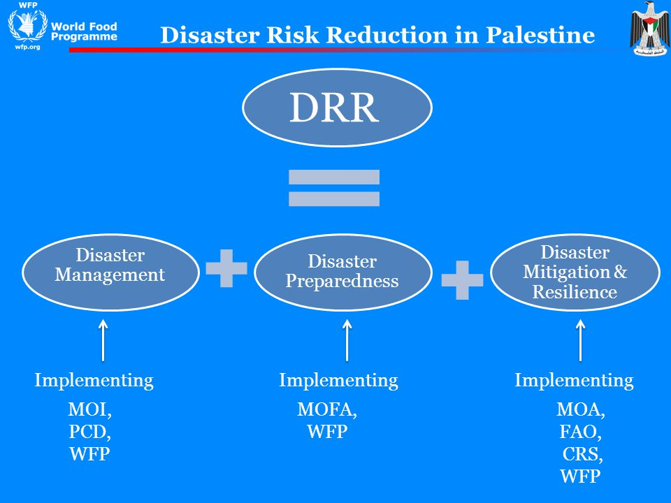 DRR Disaster Management Disaster Preparedness Disaster Mitigation & Resilience Disaster Risk Reduction in Palestine Implementing MOFA, WFP MOI, PCD, WFP MOA, FAO, CRS, WFP