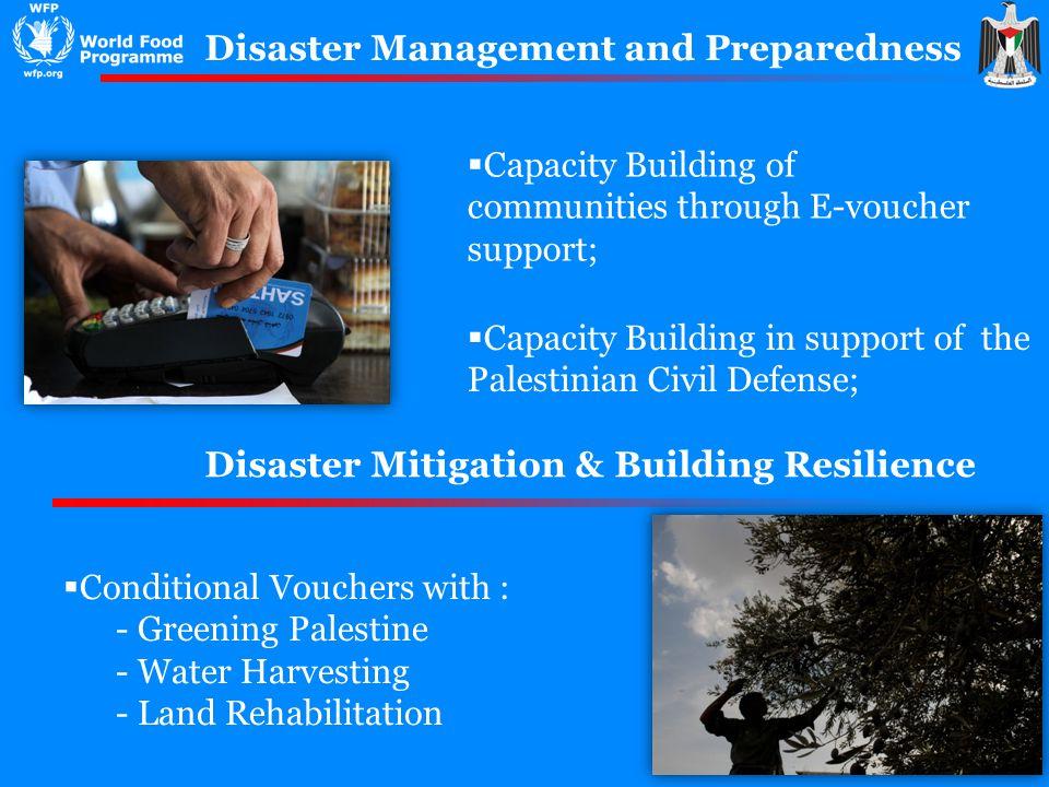 Disaster Management and Preparedness Capacity Building of communities through E-voucher support; Capacity Building in support of the Palestinian Civil
