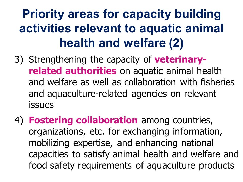3) Strengthening the capacity of veterinary- related authorities on aquatic animal health and welfare as well as collaboration with fisheries and aquaculture-related agencies on relevant issues 4) Fostering collaboration among countries, organizations, etc.