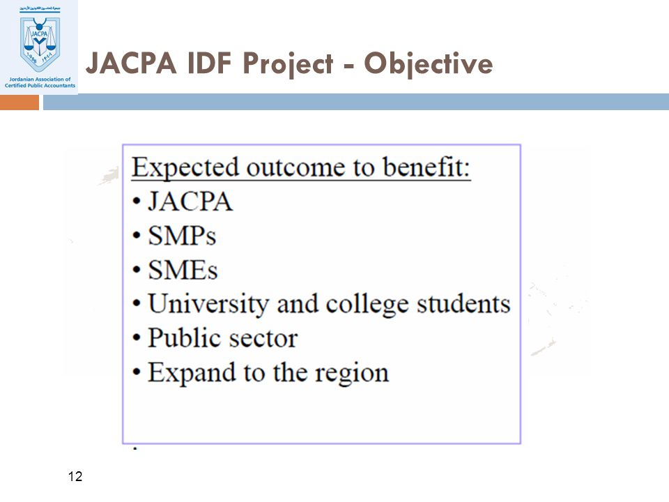 12 JACPA IDF Project - Objective