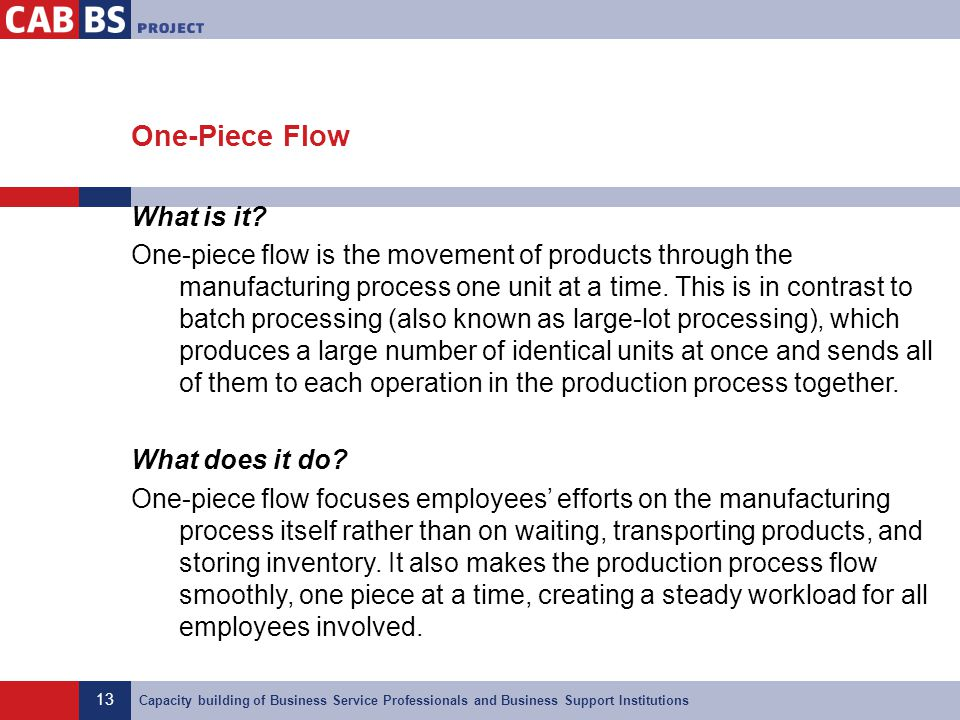 13 Capacity building of Business Service Professionals and Business Support Institutions One-Piece Flow What is it? One-piece flow is the movement of