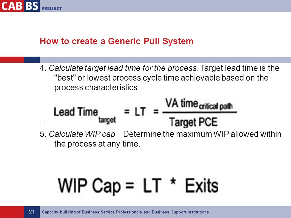 21 Capacity building of Business Service Professionals and Business Support Institutions How to create a Generic Pull System 4. Calculate target lead