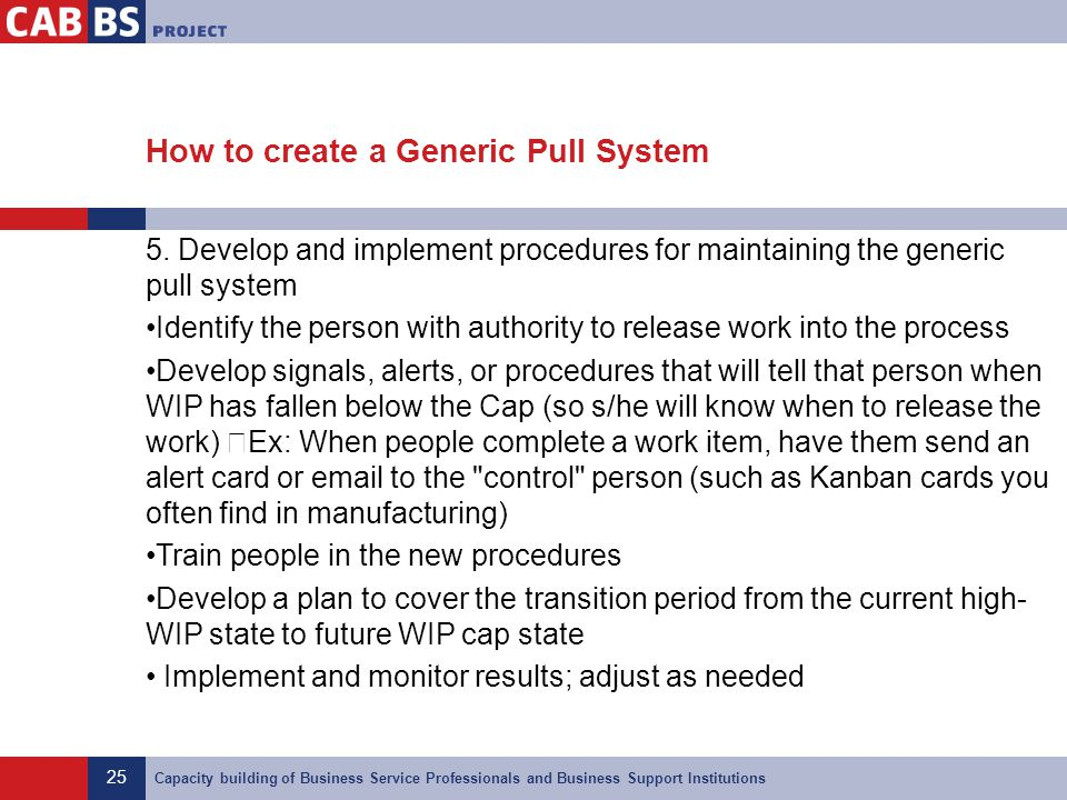 25 Capacity building of Business Service Professionals and Business Support Institutions How to create a Generic Pull System 5. Develop and implement