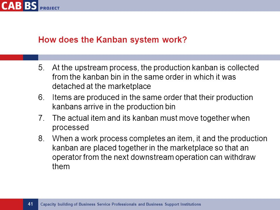 41 Capacity building of Business Service Professionals and Business Support Institutions How does the Kanban system work? 5.At the upstream process, t