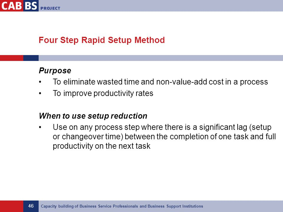 46 Capacity building of Business Service Professionals and Business Support Institutions Four Step Rapid Setup Method Purpose To eliminate wasted time