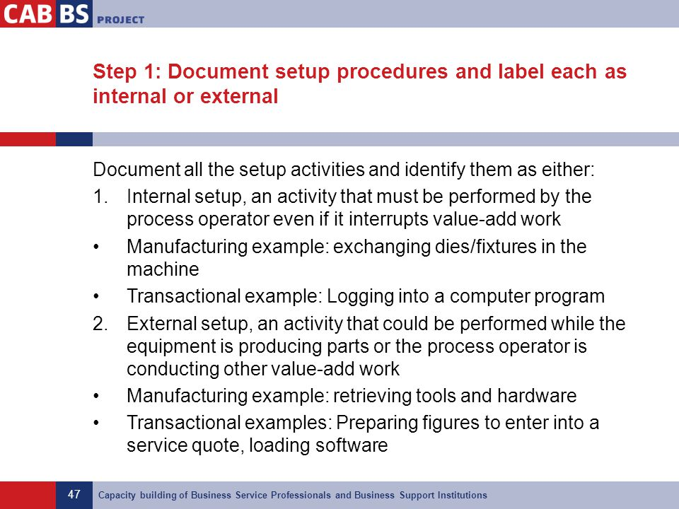 47 Capacity building of Business Service Professionals and Business Support Institutions Step 1: Document setup procedures and label each as internal