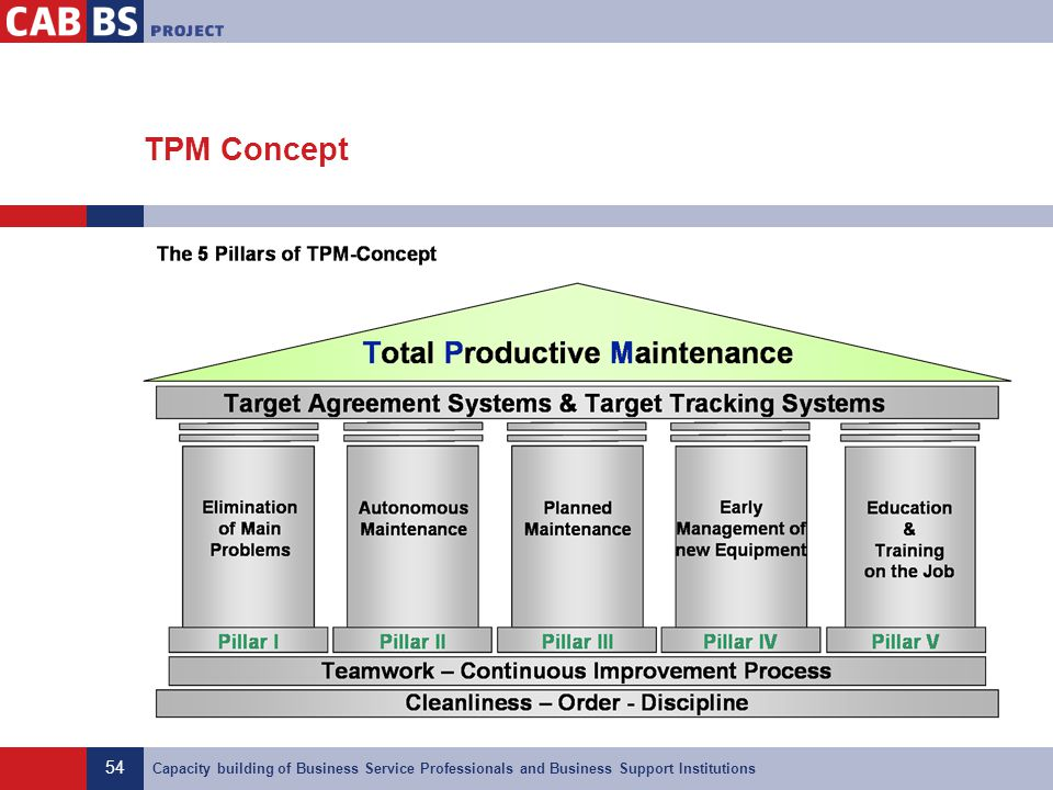 54 Capacity building of Business Service Professionals and Business Support Institutions TPM Concept