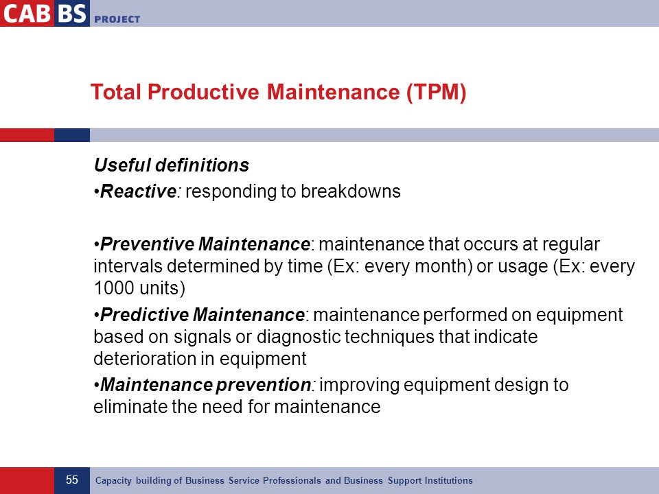 55 Capacity building of Business Service Professionals and Business Support Institutions Total Productive Maintenance (TPM) Useful definitions Reactiv