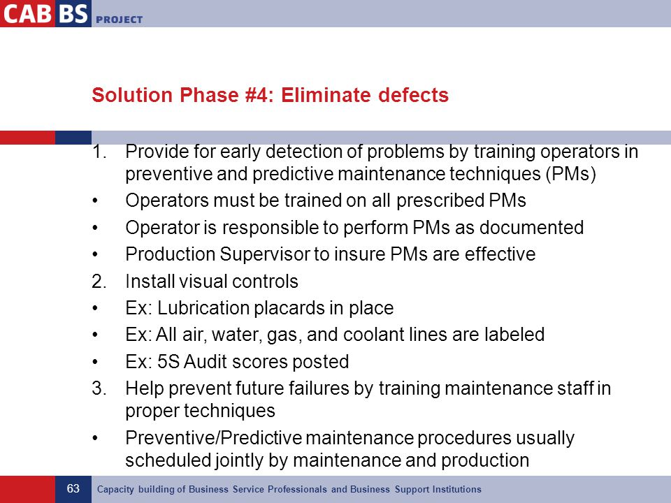 63 Capacity building of Business Service Professionals and Business Support Institutions Solution Phase #4: Eliminate defects 1.Provide for early dete