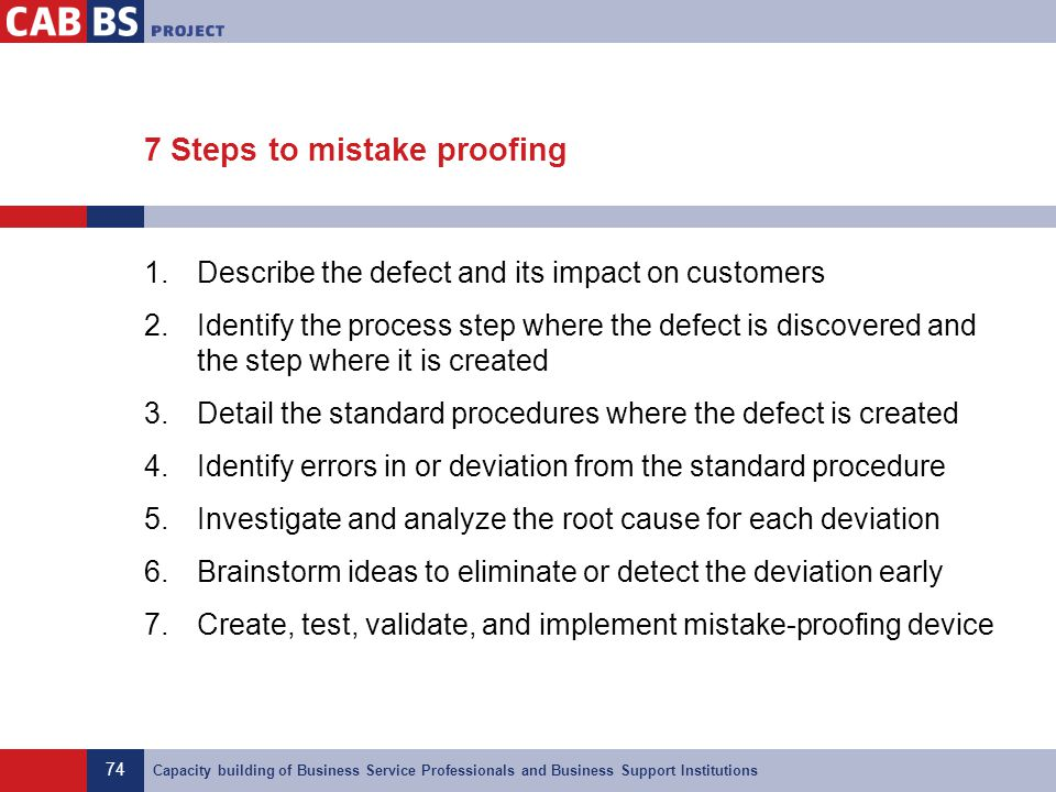 74 Capacity building of Business Service Professionals and Business Support Institutions 7 Steps to mistake proofing 1.Describe the defect and its imp