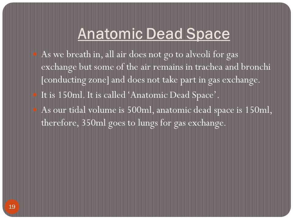 Anatomic Dead Space 19 As we breath in, all air does not go to alveoli for gas exchange but some of the air remains in trachea and bronchi [conducting